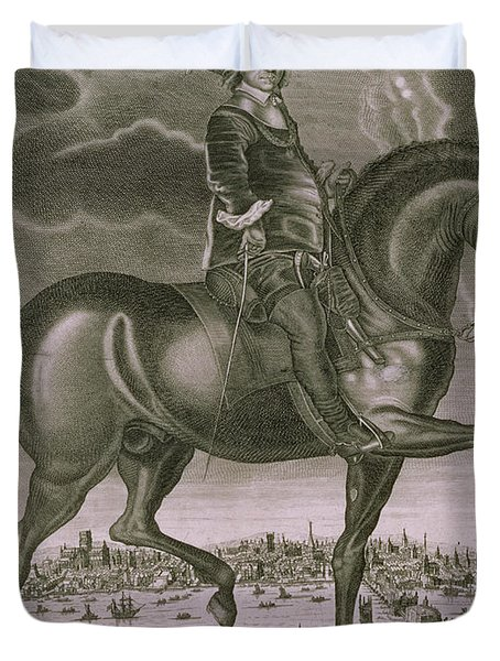 Equestrian Portrait Of Oliver Cromwell  Duvet Cover