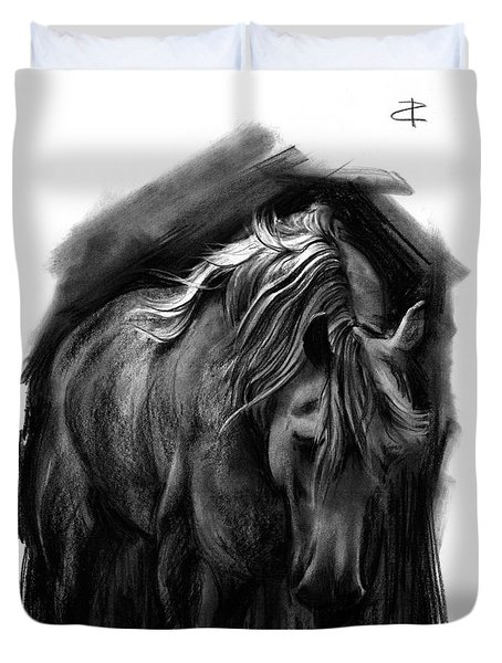 Duvet Cover featuring the drawing Equine 1 by Paul Davenport