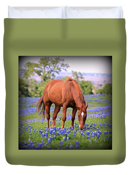 Equine Bluebonnets Duvet Cover by Stephen Stookey