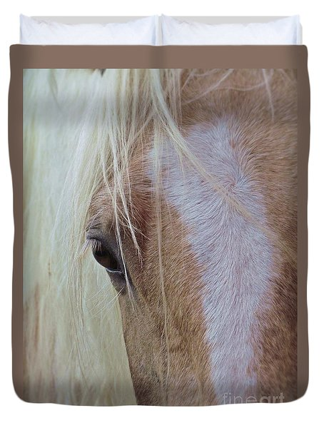 Duvet Cover featuring the photograph Equine Head Study by Laurinda Bowling