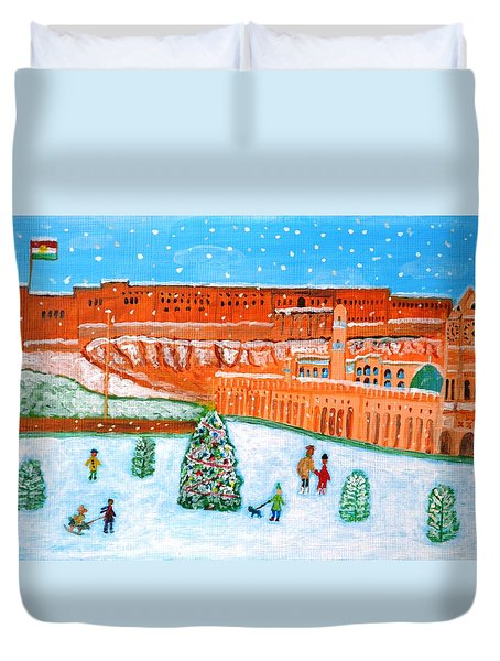 Duvet Cover featuring the painting Erbil Citadel Christmas  by Magdalena Frohnsdorff