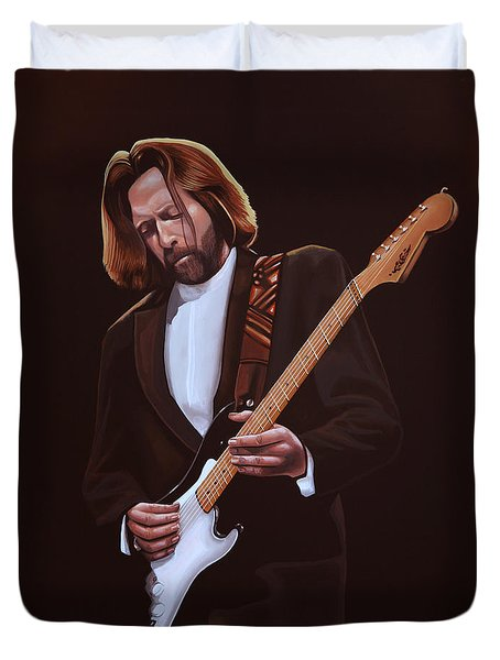 Eric Clapton Painting Duvet Cover by Paul Meijering