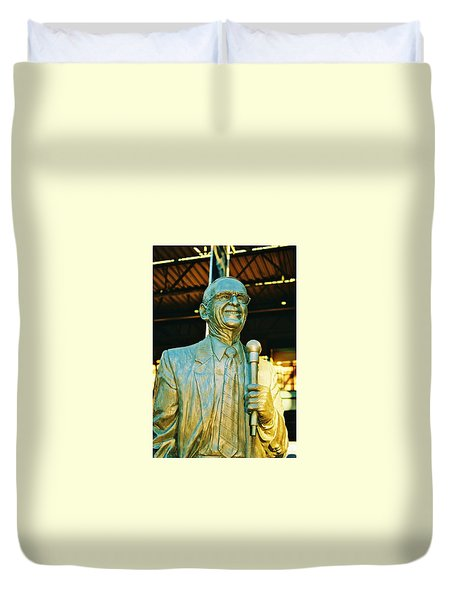 Ernie Harwell Statue At The Copa Duvet Cover