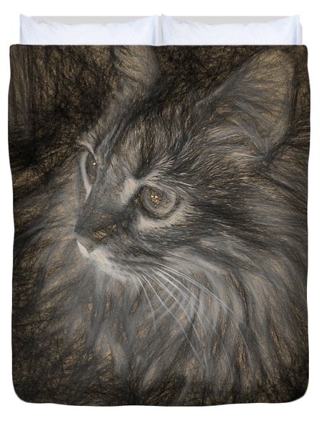 Eros In Charcoal Two Duvet Cover by Ken Frischkorn