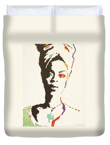 Duvet Cover featuring the painting Erykah Badu by Stormm Bradshaw