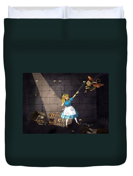 Duvet Cover featuring the painting Escape by Reynold Jay