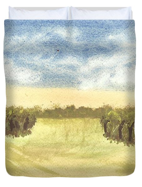 Duvet Cover featuring the painting Escape To The Country by Tracey Williams
