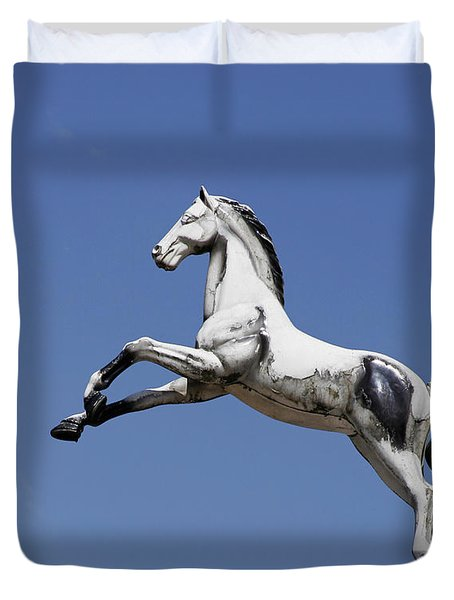 Escaped Carousel Horse Duvet Cover
