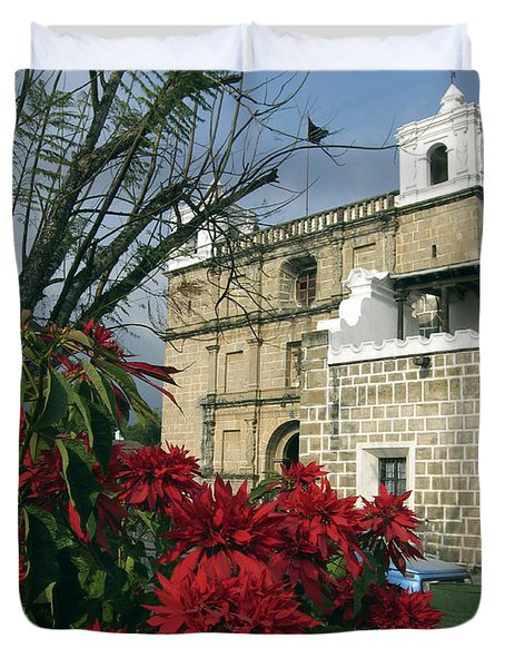 Escuela De Cristo Church Antigua Duvet Cover by Kurt Van Wagner