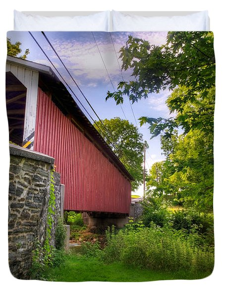 Duvet Cover featuring the photograph Eshelman's Mill Covered Bridge by Jim Thompson