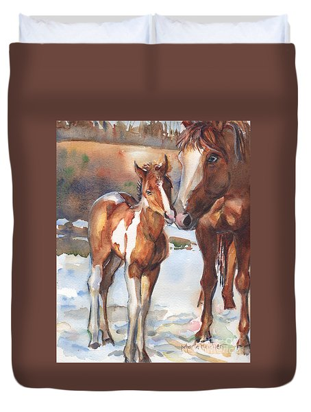 horse painting in watercolor Eskimo Kisses Duvet Cover