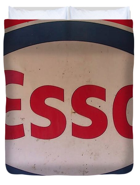 Duvet Cover featuring the digital art Esso Garage Sign by Marvin Blaine