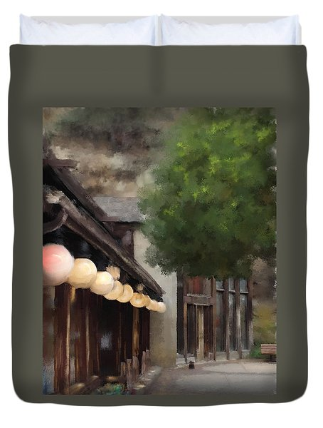 Duvet Cover featuring the painting Estes Park Downtown by Patricia Lintner