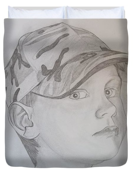Duvet Cover featuring the drawing Ethan Age 6 by Justin Moore