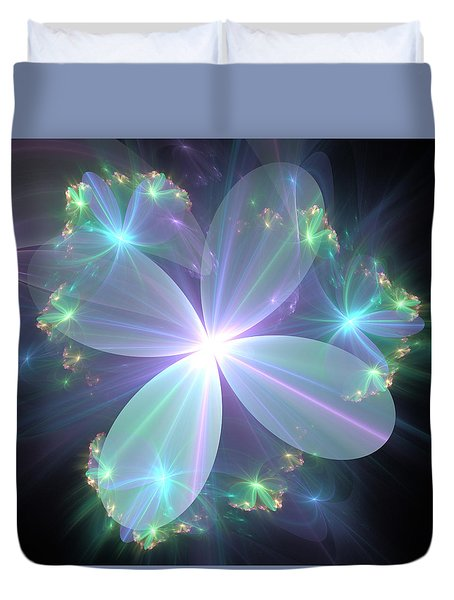 Ethereal Flower In Blue Duvet Cover