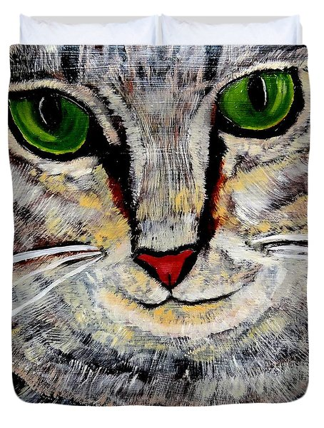 Duvet Cover featuring the painting Ethical Kitty See's Your Dilemma by Lisa Brandel
