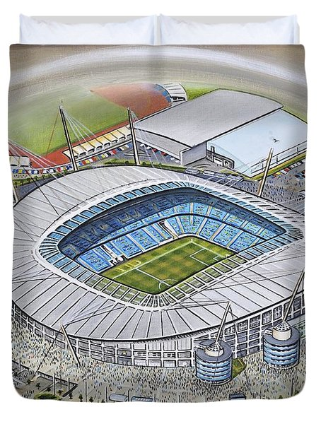 Etihad Stadium - Manchester City Duvet Cover by D J Rogers