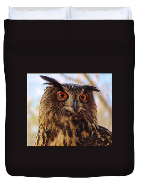 Duvet Cover featuring the photograph Eurasian Eagle Owl by Cynthia Guinn
