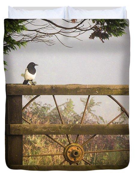 Eurasian Magpie In Morning Mist Duvet Cover