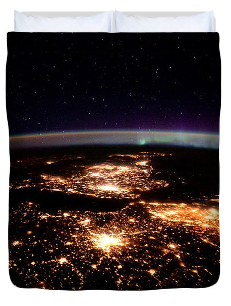 Duvet Cover featuring the photograph Europe At Night, Satellite View by Science Source
