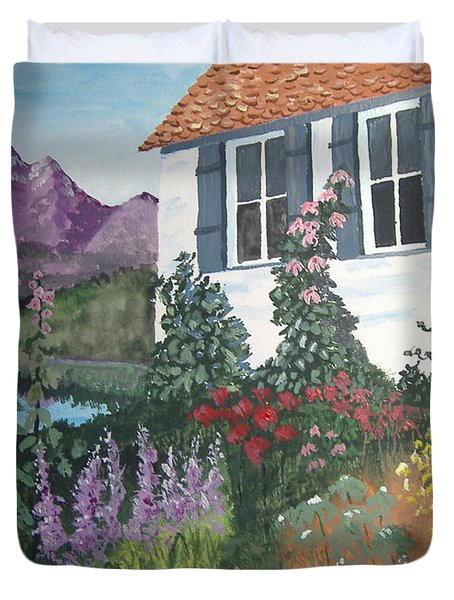 Duvet Cover featuring the painting European Flower Garden by Norm Starks