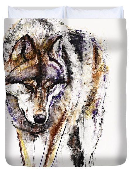European Wolf Duvet Cover by Mark Adlington