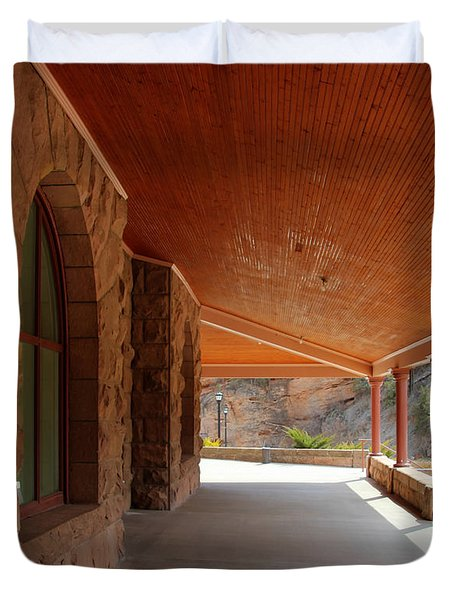 Duvet Cover featuring the photograph Evans Porch by Bill Gabbert
