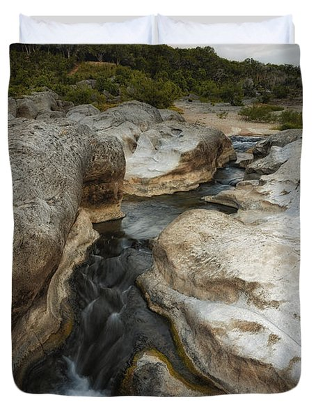 Even Flow At The Pedernales Texas Hill Country Duvet Cover by Silvio Ligutti