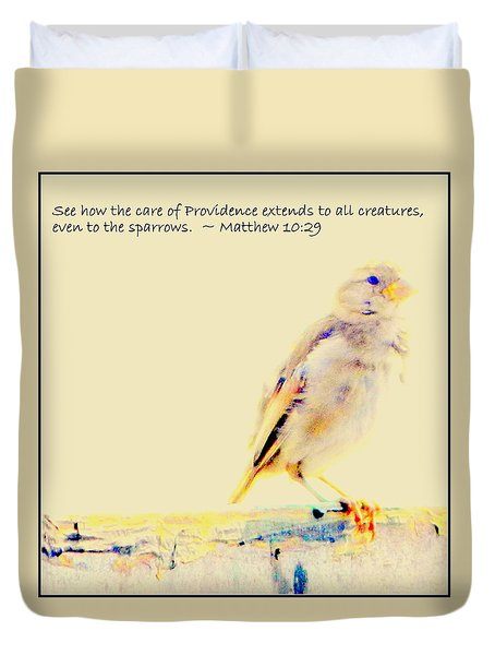 Even Sparrows Matter Duvet Cover by Kathy Barney