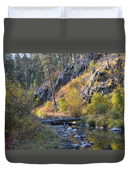 Evening Approaches Spring Creek Duvet Cover
