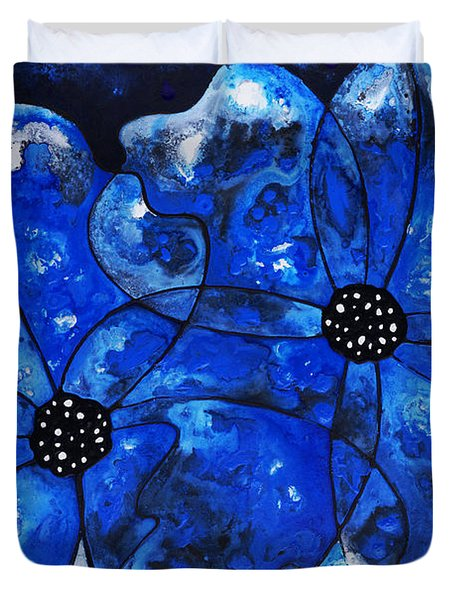 Evening Bloom Blue Flowers By Sharon Cummings Duvet Cover by Sharon Cummings