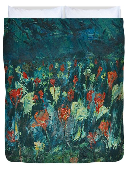Duvet Cover featuring the painting Evening Buds by Mini Arora