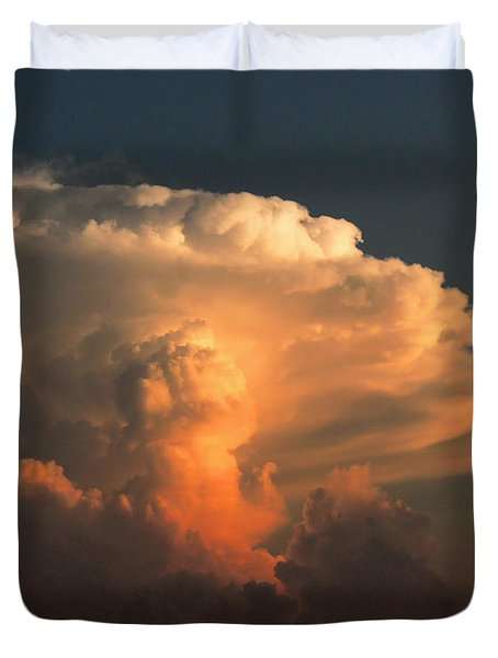 Duvet Cover featuring the photograph Evening Buildup by Charlotte Schafer