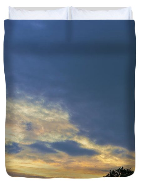 Evening By The Eiffel Tower Duvet Cover by Maj Seda