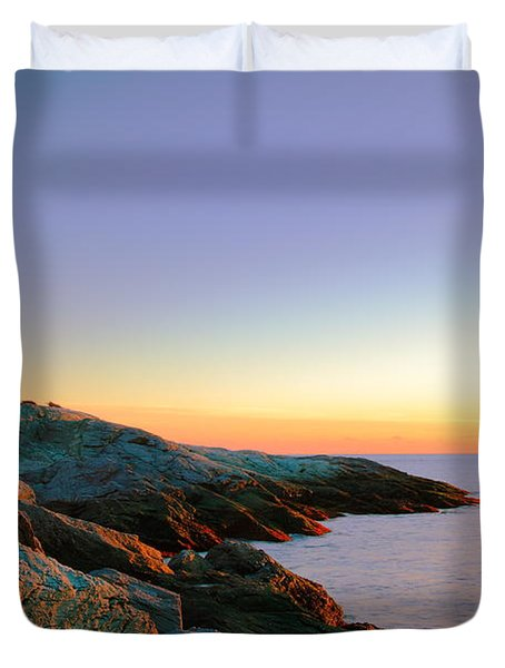 Evening Calm At Castle Hill Lighthouse Duvet Cover by Roupen  Baker
