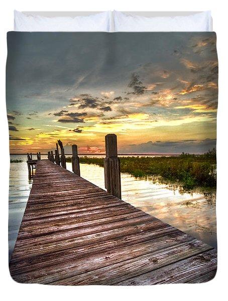 Evening Dock Duvet Cover by Debra and Dave Vanderlaan