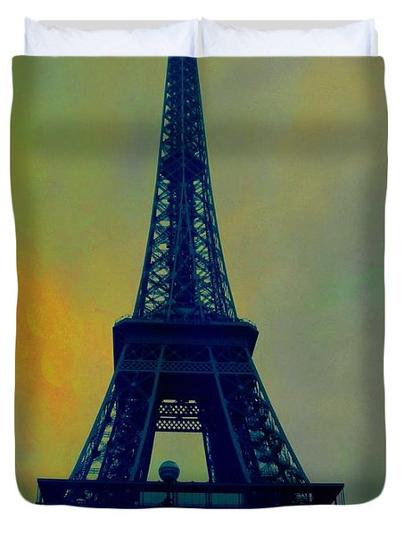 Evening Eiffel Tower Duvet Cover