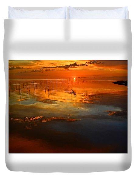 Evening Fishing Duvet Cover
