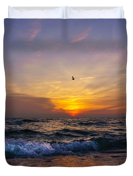 Evening Flight Duvet Cover by Dmytro Korol