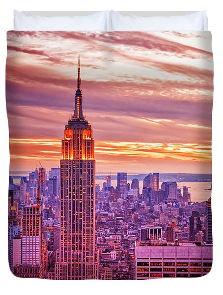 Evening In New York City Duvet Cover