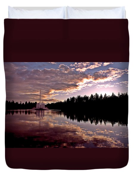 Evening Light At Lost Lagoon Duvet Cover