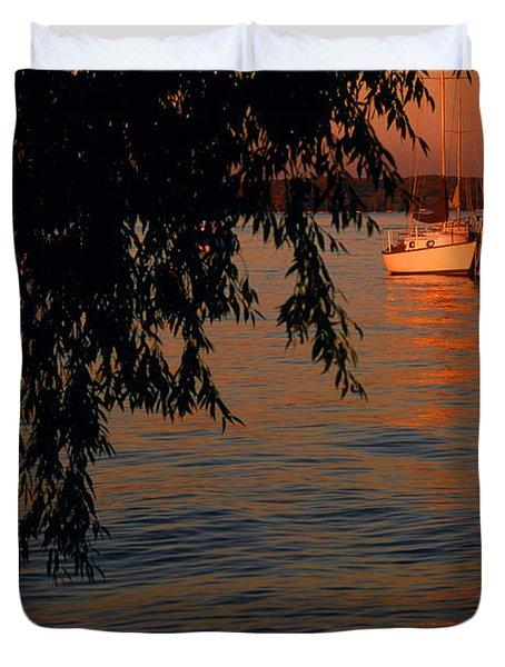 Evening Mooring - Lake Geneva Wisconsin Duvet Cover