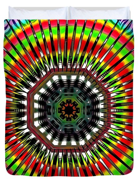 Duvet Cover featuring the digital art Evening Of The Rainbow by Mario Carini