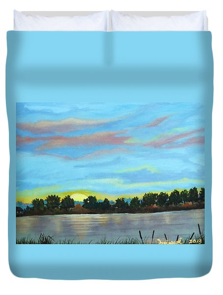 Evening On Ema River Duvet Cover