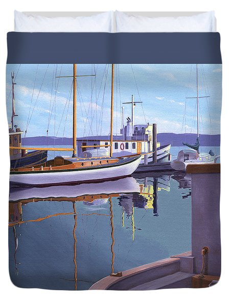 Duvet Cover featuring the painting Evening On Malaspina Strait by Gary Giacomelli