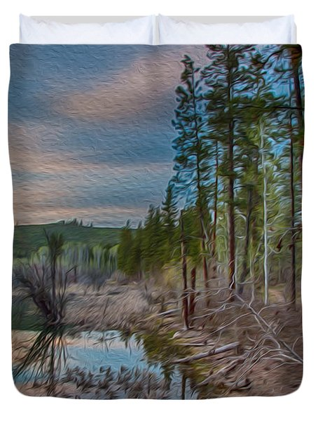 Evening On The Banks Of A Beaver Pond Duvet Cover by Omaste Witkowski