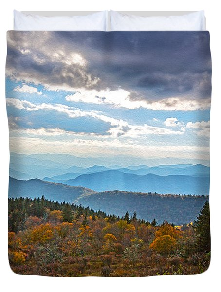 Evening On The Blue Ridge Parkway Duvet Cover by John Haldane