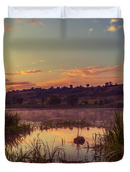 Evening On The Quiet River Duvet Cover