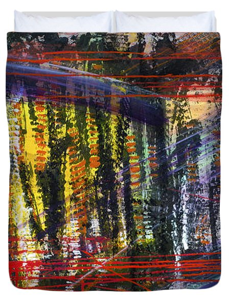 Evening Pond By A Road Duvet Cover