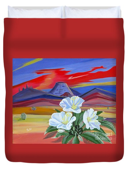 Duvet Cover featuring the painting Evening Primrose by Phyllis Kaltenbach